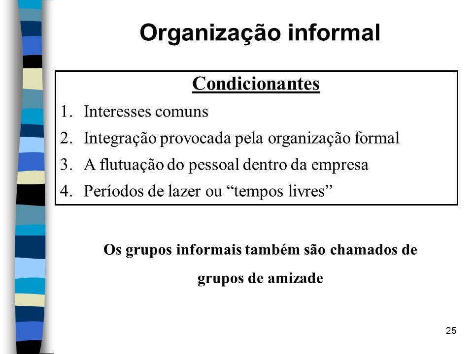 25 Organização informal Condicionantes 1.Interesses comuns 2.Integração provocada pela organização formal 3.A flutuação do pessoal dentro da empresa 4