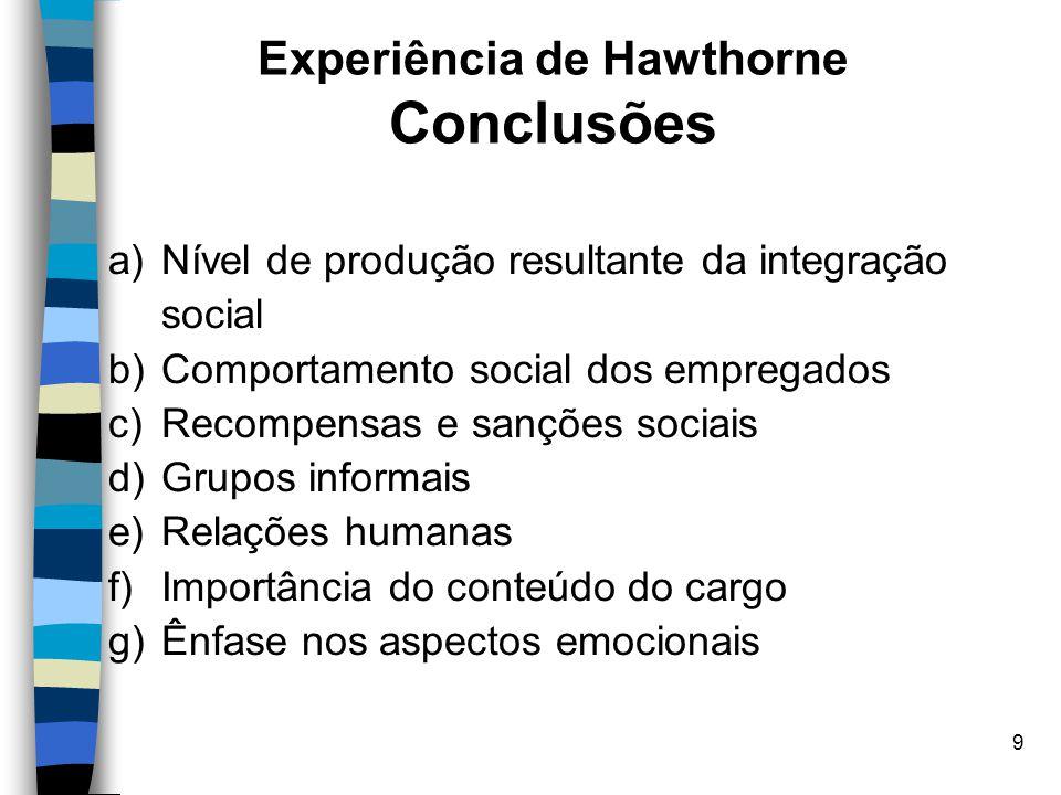 9 Experiência de Hawthorne Conclusões a)Nível de produção resultante da integração social b)Comportamento social dos empregados c)Recompensas e sançõe