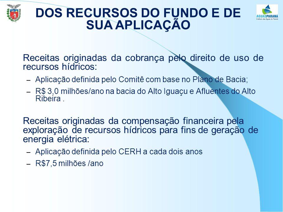 Receitas originadas da cobrança pelo direito de uso de recursos hídricos: – Aplicação definida pelo Comitê com base no Plano de Bacia; – R$ 3,0 milhões/ano na bacia do Alto Iguaçu e Afluentes do Alto Ribeira.