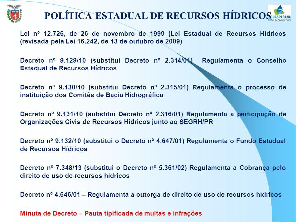 POLÍTICA ESTADUAL DE RECURSOS HÍDRICOS  Lei nº 12.726, de 26 de novembro de 1999 (Lei Estadual de Recursos Hídricos (revisada pela Lei 16.242, de 13 de outubro de 2009)  Decreto nº 9.129/10 (substitui Decreto nº 2.314/01) Regulamenta o Conselho Estadual de Recursos Hídricos  Decreto nº 9.130/10 (substitui Decreto nº 2.315/01) Regulamenta o processo de instituição dos Comitês de Bacia Hidrográfica  Decreto nº 9.131/10 (substitui Decreto nº 2.316/01) Regulamenta a participação de Organizações Civis de Recursos Hídricos junto ao SEGRH/PR  Decreto nº 9.132/10 (substitui o Decreto nº 4.647/01) Regulamenta o Fundo Estadual de Recursos Hídricos  Decreto nº 7.348/13 (substitui o Decreto nº 5.361/02) Regulamenta a Cobrança pelo direito de uso de recursos hídricos  Decreto nº 4.646/01 – Regulamenta a outorga de direito de uso de recursos hídricos  Minuta de Decreto – Pauta tipificada de multas e infrações