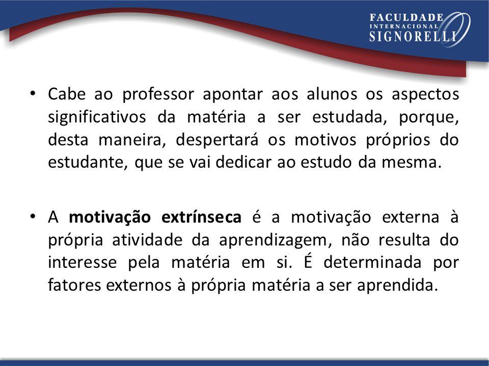 Cabe ao professor apontar aos alunos os aspectos significativos da matéria a ser estudada, porque, desta maneira, despertará os motivos próprios do es