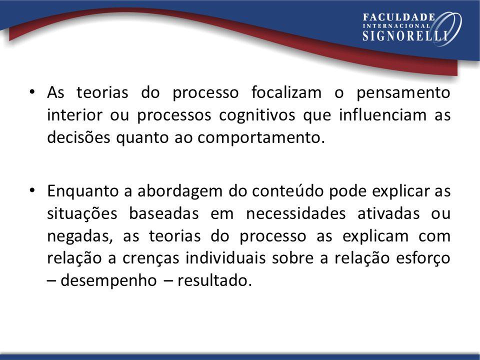 As teorias do processo focalizam o pensamento interior ou processos cognitivos que influenciam as decisões quanto ao comportamento. Enquanto a abordag