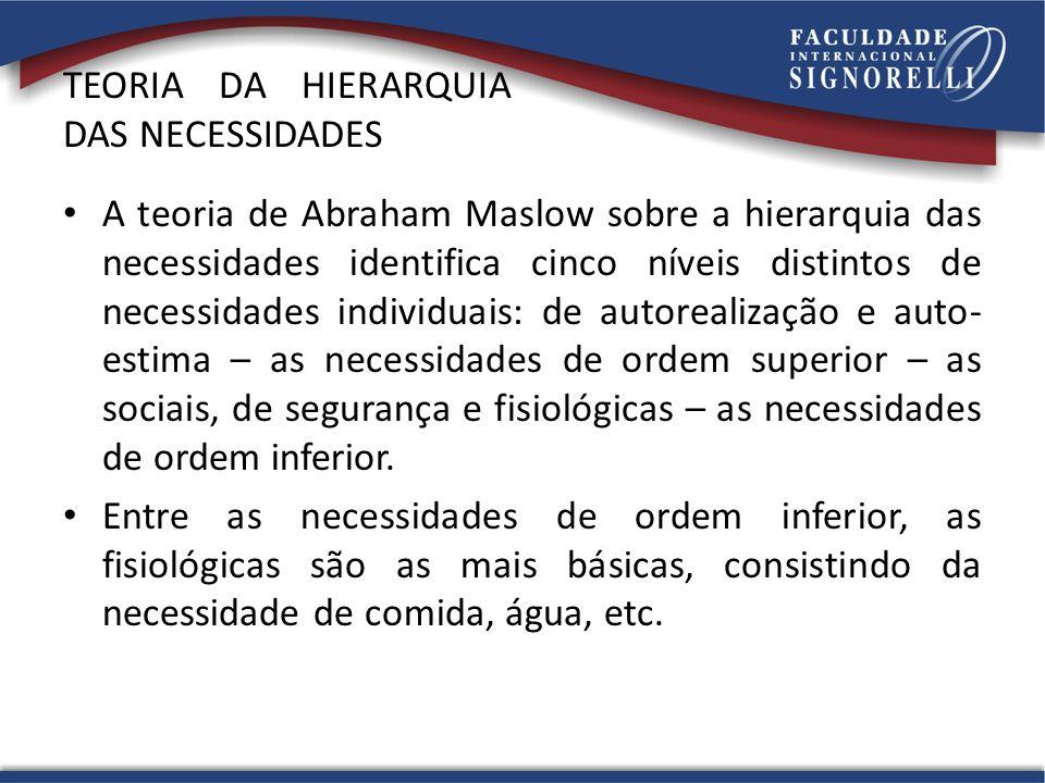 TEORIA DA HIERARQUIA DAS NECESSIDADES A teoria de Abraham Maslow sobre a hierarquia das necessidades identifica cinco níveis distintos de necessidades