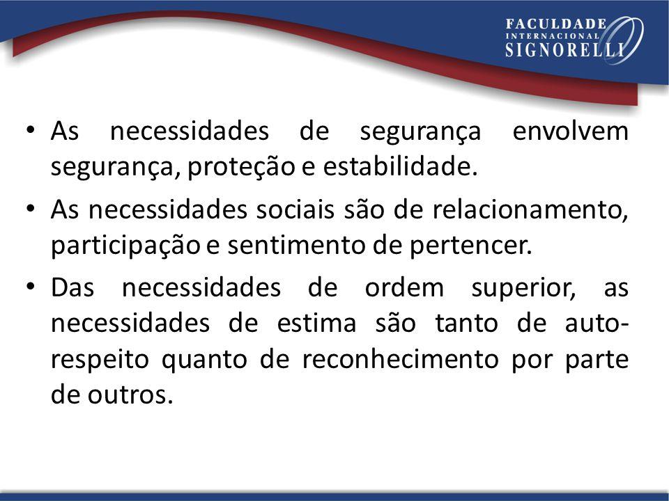 As necessidades de segurança envolvem segurança, proteção e estabilidade. As necessidades sociais são de relacionamento, participação e sentimento de
