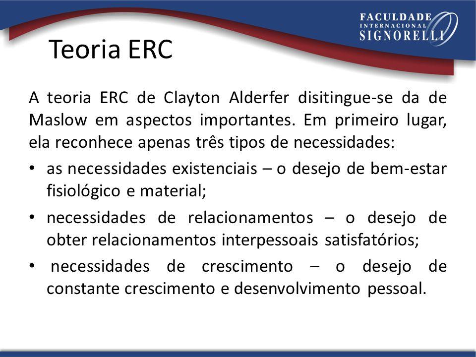 Teoria ERC A teoria ERC de Clayton Alderfer disitingue-se da de Maslow em aspectos importantes. Em primeiro lugar, ela reconhece apenas três tipos de