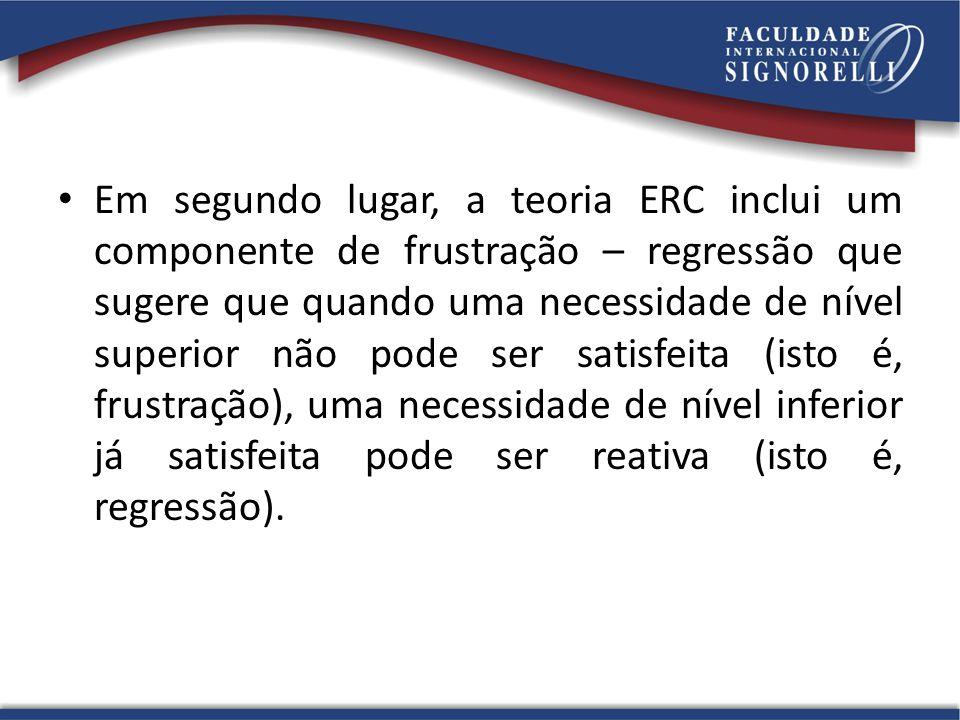 Em segundo lugar, a teoria ERC inclui um componente de frustração – regressão que sugere que quando uma necessidade de nível superior não pode ser sat