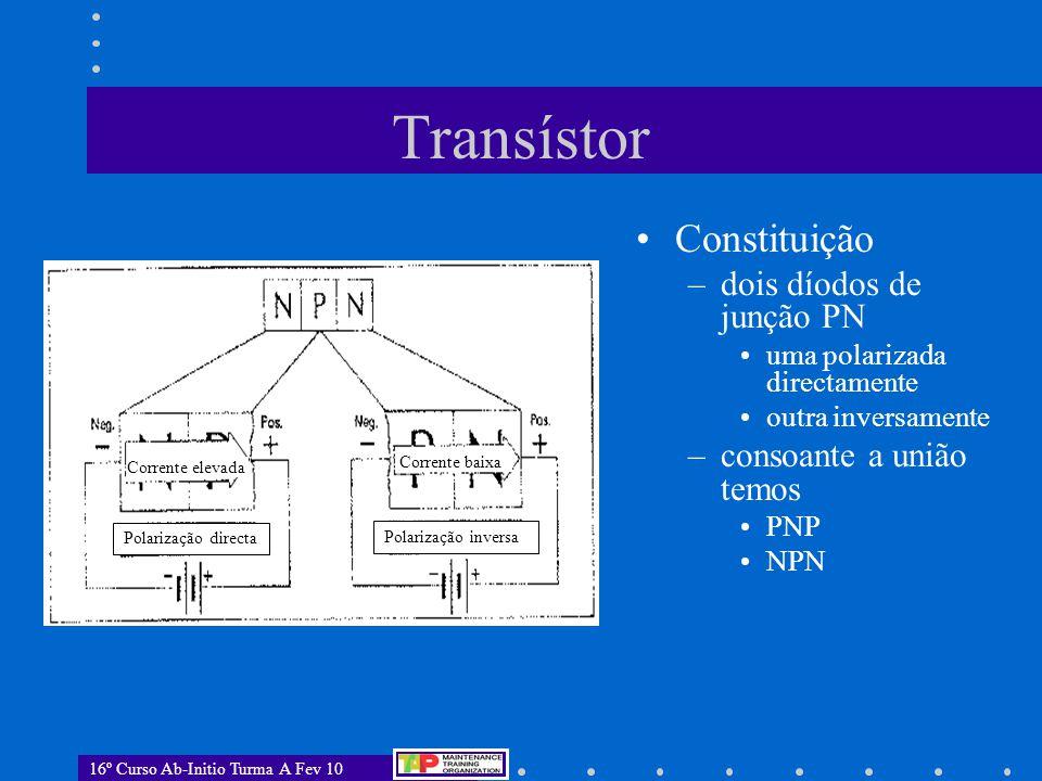 16º Curso Ab-Initio Turma A Fev 10 Transístor Fluxo de electrões  Fluxo de electrões EmissorBaseColector Fluxo de electrões..