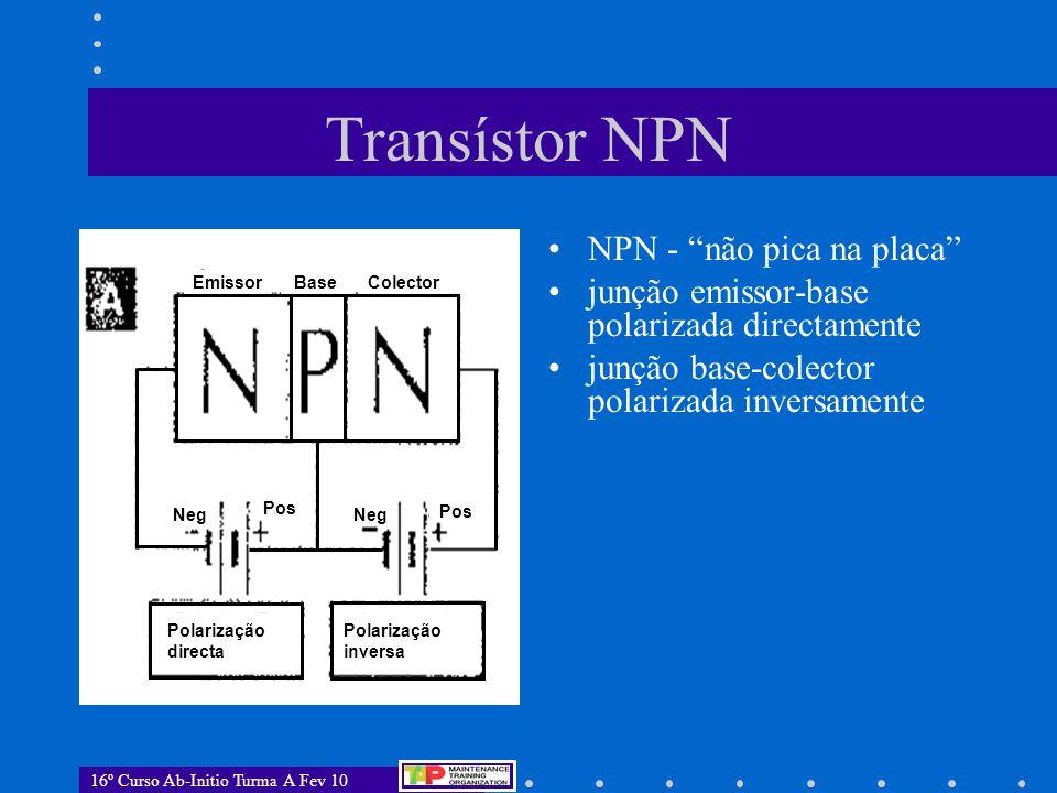 """16º Curso Ab-Initio Turma A Fev 10 Transístor NPN NPN - """"não pica na placa"""" junção emissor-base polarizada directamente junção base-colector polarizad"""