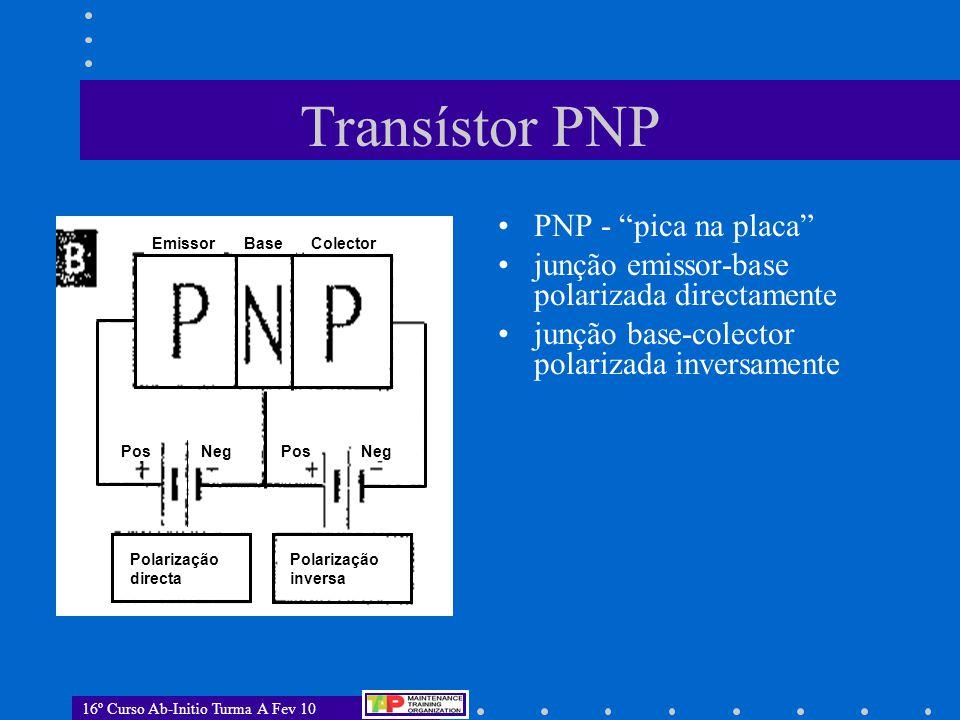 """16º Curso Ab-Initio Turma A Fev 10 Transístor PNP PNP - """"pica na placa"""" junção emissor-base polarizada directamente junção base-colector polarizada in"""