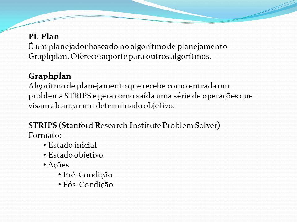 PL-Plan É um planejador baseado no algorítmo de planejamento Graphplan. Oferece suporte para outros algorítmos. Graphplan Algorítmo de planejamento qu