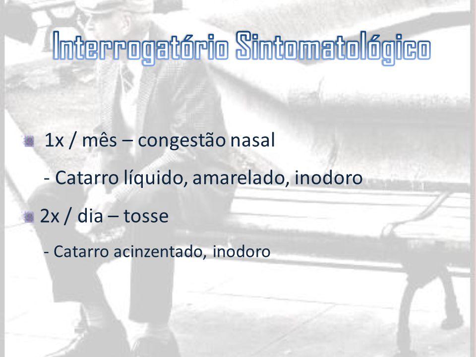 1x / mês – congestão nasal - Catarro líquido, amarelado, inodoro 2x / dia – tosse - Catarro acinzentado, inodoro