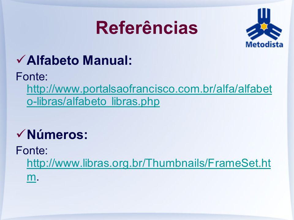 Referências Alfabeto Manual: Fonte: http://www.portalsaofrancisco.com.br/alfa/alfabet o-libras/alfabeto libras.php http://www.portalsaofrancisco.com.b