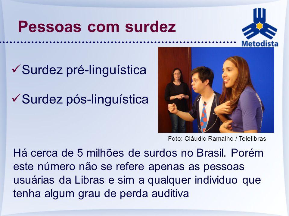 Pessoas com surdez Surdez pré-linguística Surdez pós-linguística Há cerca de 5 milhões de surdos no Brasil. Porém este número não se refere apenas as