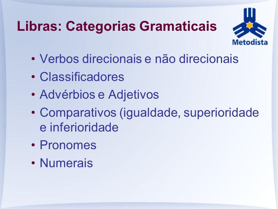 Libras: Categorias Gramaticais Verbos direcionais e não direcionais Classificadores Advérbios e Adjetivos Comparativos (igualdade, superioridade e inf