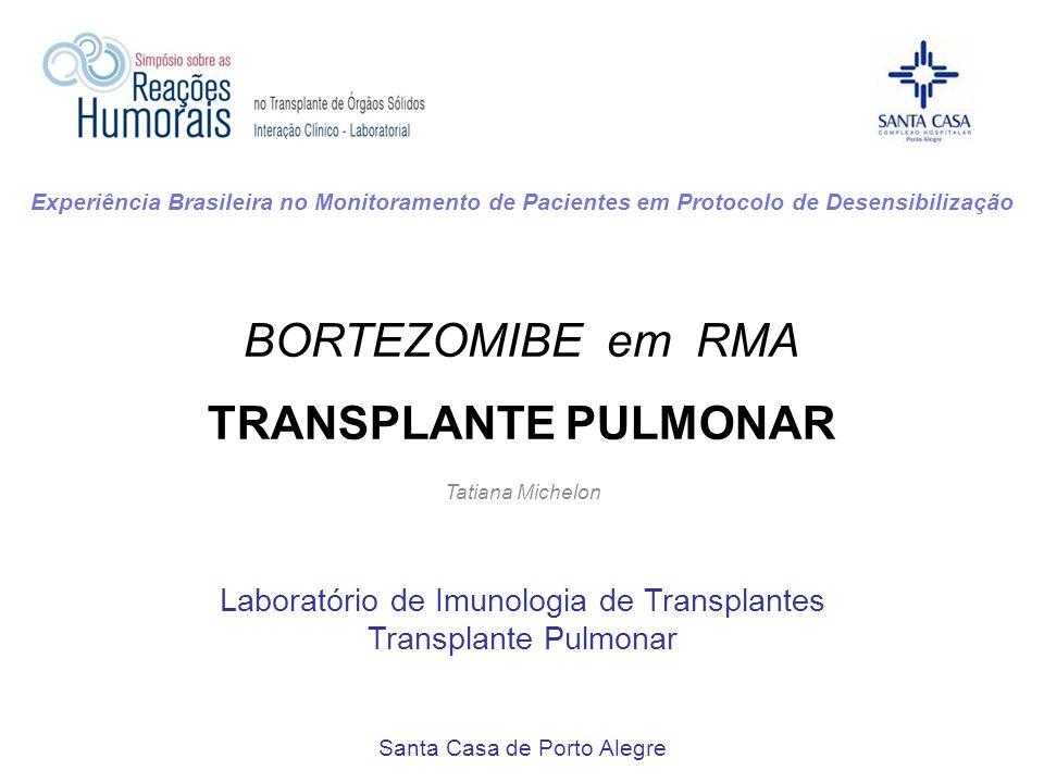 BORTEZOMIBE em RMA TRANSPLANTE PULMONAR Tatiana Michelon Laboratório de Imunologia de Transplantes Transplante Pulmonar Santa Casa de Porto Alegre Exp