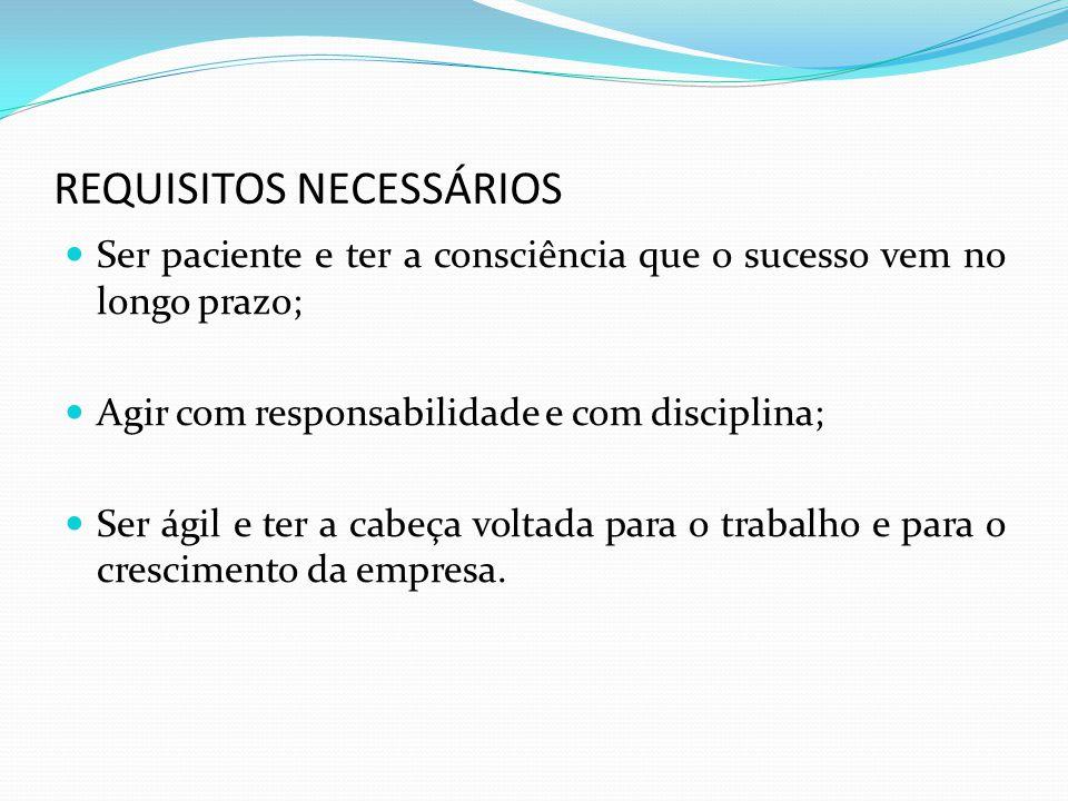REQUISITOS NECESSÁRIOS Ter vontade de trabalhar duro; Ter habilidade de comunicação; Manter boas relações interpessoais.