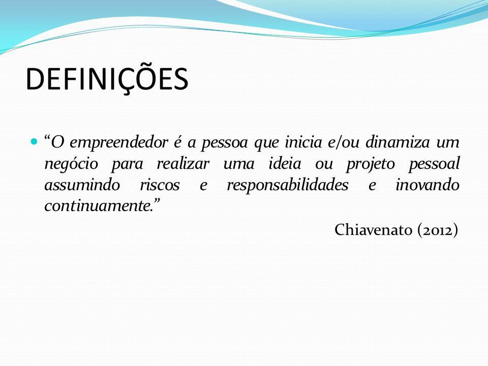 DEFINIÇÕES Empreendedores são pessoas que fazem diferença, realizam, que fazem acontecer, que desenvolvem sua capacidade de superar limites. Tachizawa e Faria (2004)