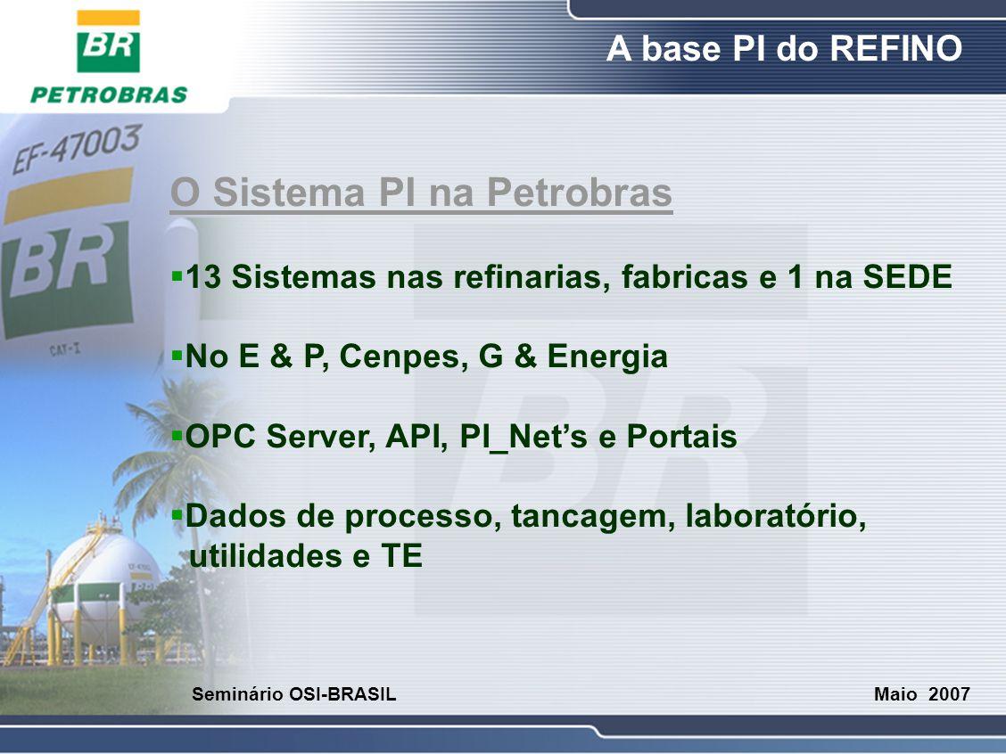 O Refino A base PI do REFINO Maio 2007 Seminário OSI-BRASIL O Sistema PI na Petrobras  13 Sistemas nas refinarias, fabricas e 1 na SEDE  No E & P, C
