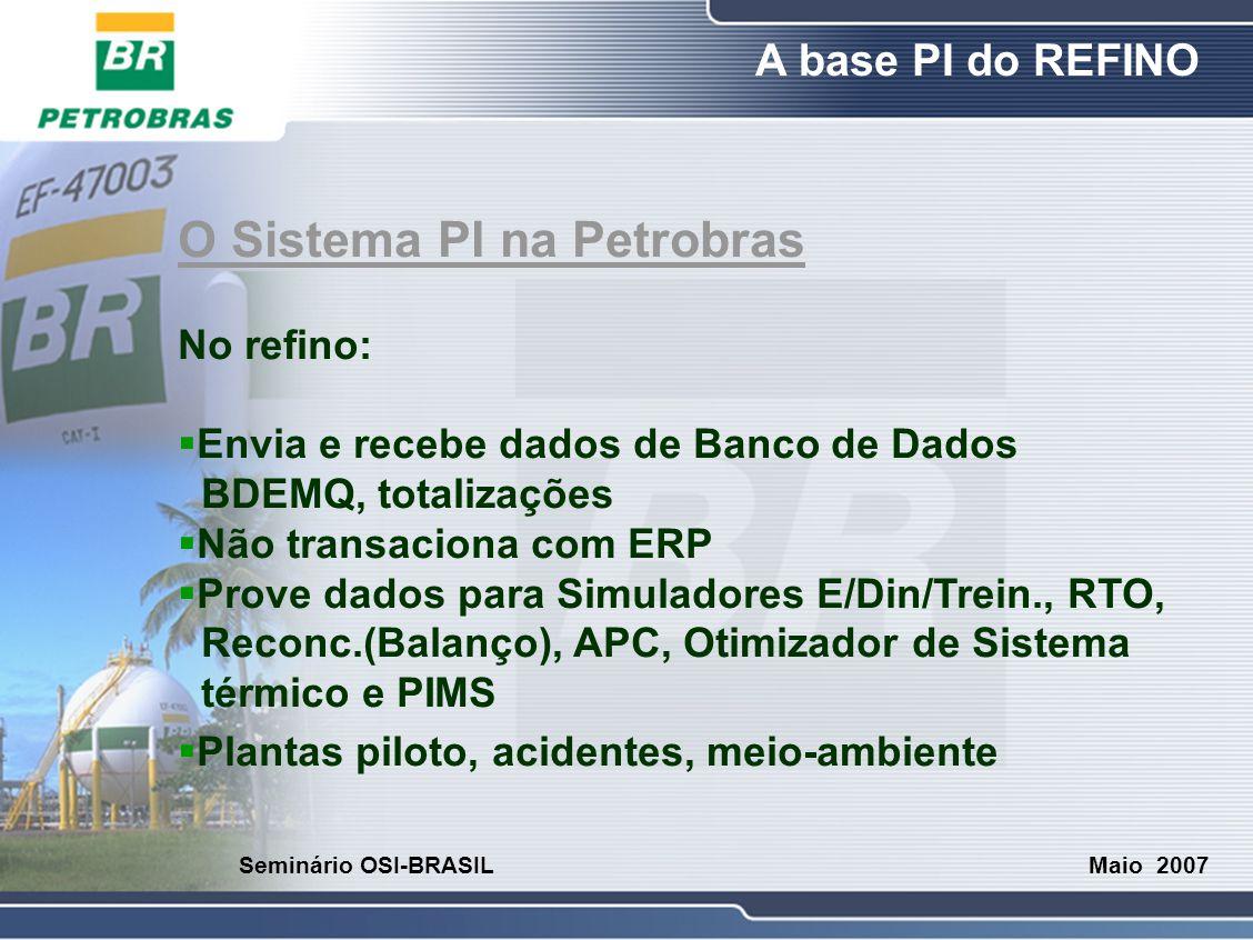 O Refino A base PI do REFINO Maio 2007 Seminário OSI-BRASIL O Sistema PI na Petrobras No refino:  Envia e recebe dados de Banco de Dados BDEMQ, total