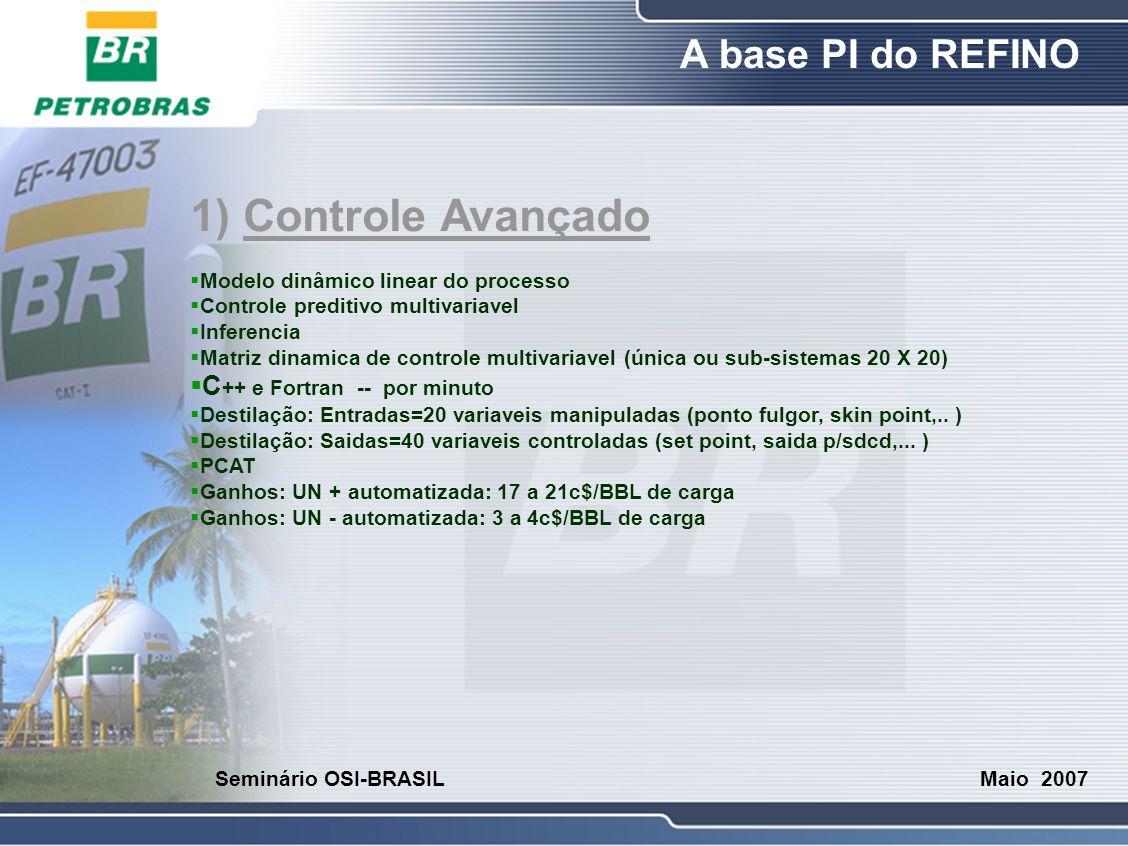 O Refino A base PI do REFINO Maio 2007 Seminário OSI-BRASIL 1) Controle Avançado  Modelo dinâmico linear do processo  Controle preditivo multivariav