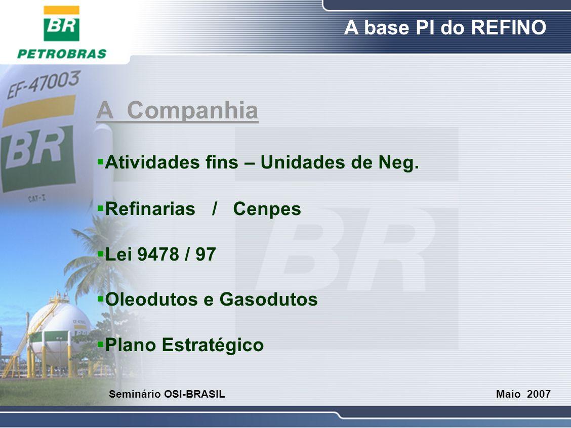 O Refino A base PI do REFINO Maio 2007 Seminário OSI-BRASIL A Companhia  Atividades fins – Unidades de Neg.  Refinarias / Cenpes  Lei 9478 / 97  O