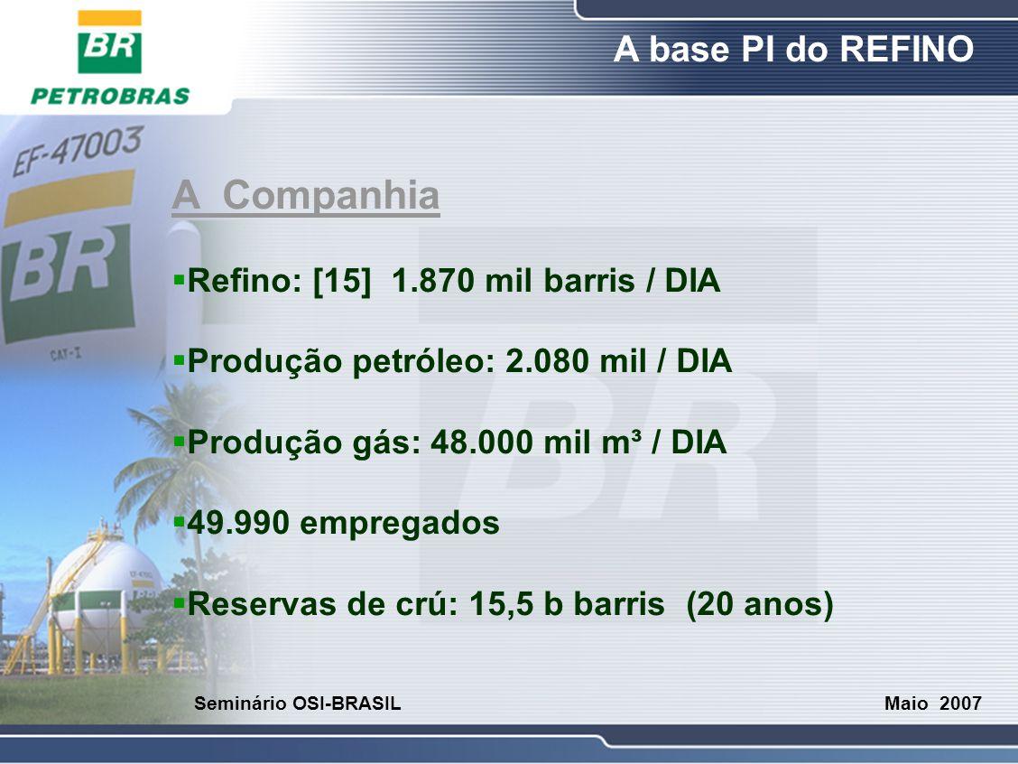 O Refino A base PI do REFINO Maio 2007 Seminário OSI-BRASIL A Companhia  Investimentos: R$ 35,7 bilhões  Custo Ref.: US$ 2,3/b  Custo Prod.: US$ 6,5/b