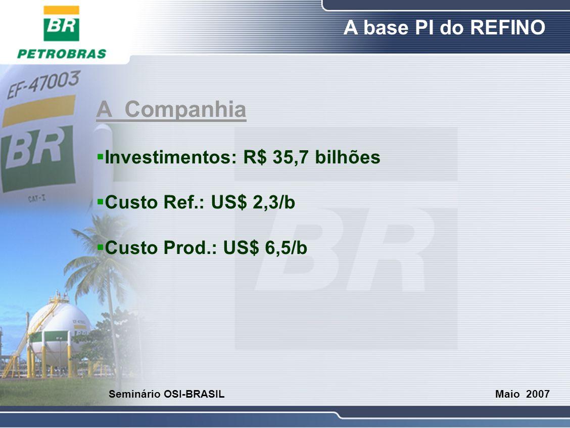 O Refino A base PI do REFINO Maio 2007 Seminário OSI-BRASIL A Companhia  Investimentos: R$ 35,7 bilhões  Custo Ref.: US$ 2,3/b  Custo Prod.: US$ 6,