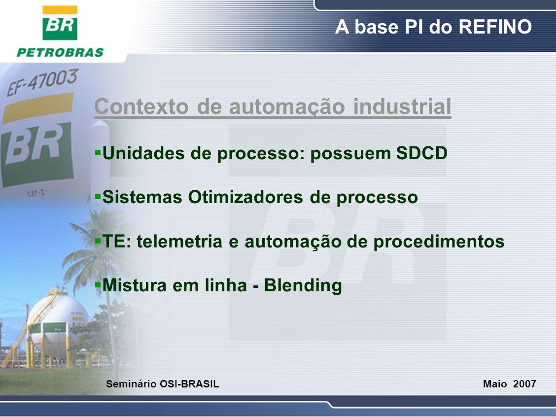 O Refino A base PI do REFINO Maio 2007 Seminário OSI-BRASIL Contexto de automação industrial  Unidades de processo: possuem SDCD  Sistemas Otimizado