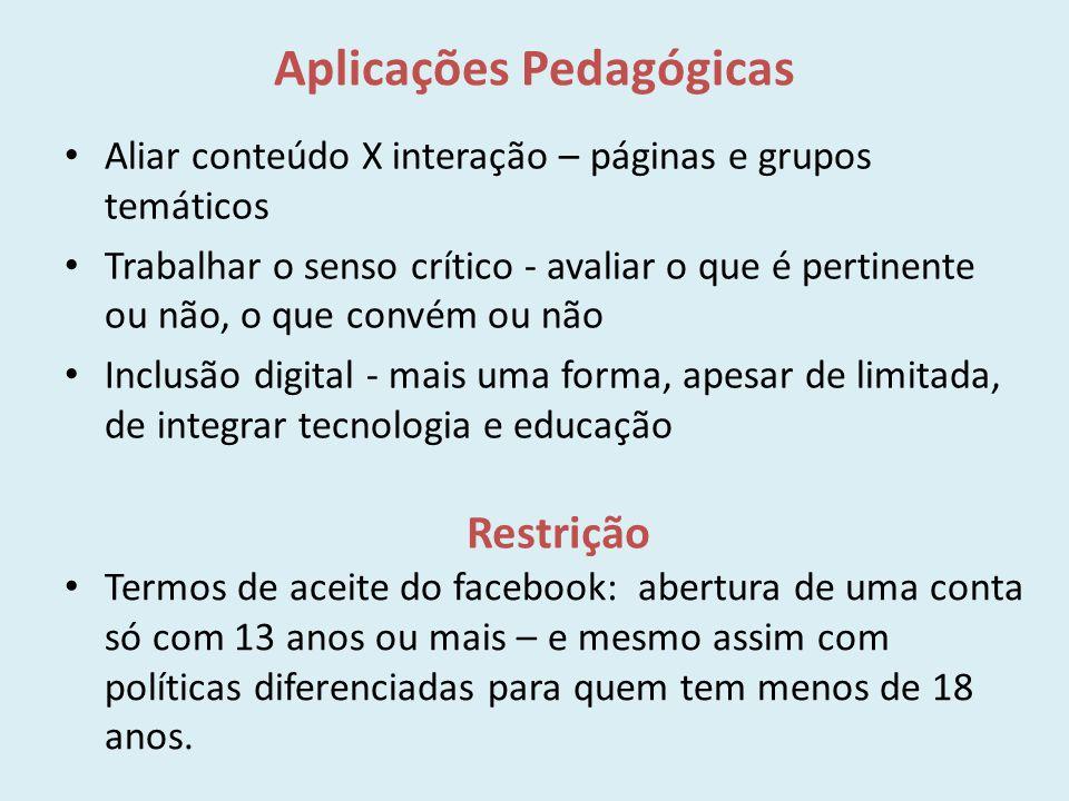 Aplicações Pedagógicas Aliar conteúdo X interação – páginas e grupos temáticos Trabalhar o senso crítico - avaliar o que é pertinente ou não, o que co