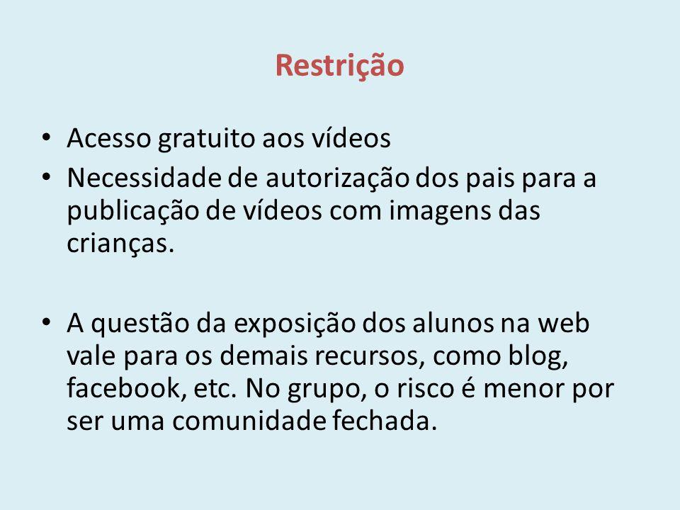 Restrição Acesso gratuito aos vídeos Necessidade de autorização dos pais para a publicação de vídeos com imagens das crianças. A questão da exposição