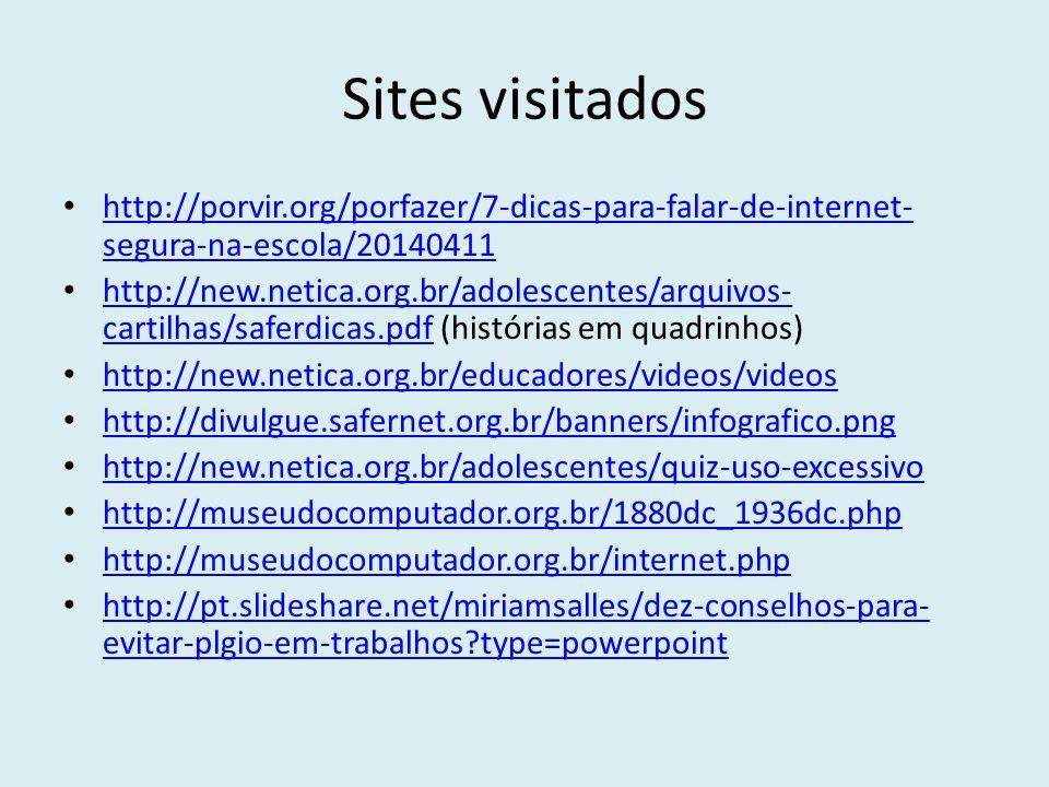 Sites visitados http://porvir.org/porfazer/7-dicas-para-falar-de-internet- segura-na-escola/20140411 http://porvir.org/porfazer/7-dicas-para-falar-de-