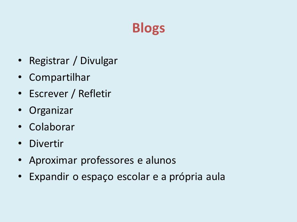 Blogs Registrar / Divulgar Compartilhar Escrever / Refletir Organizar Colaborar Divertir Aproximar professores e alunos Expandir o espaço escolar e a