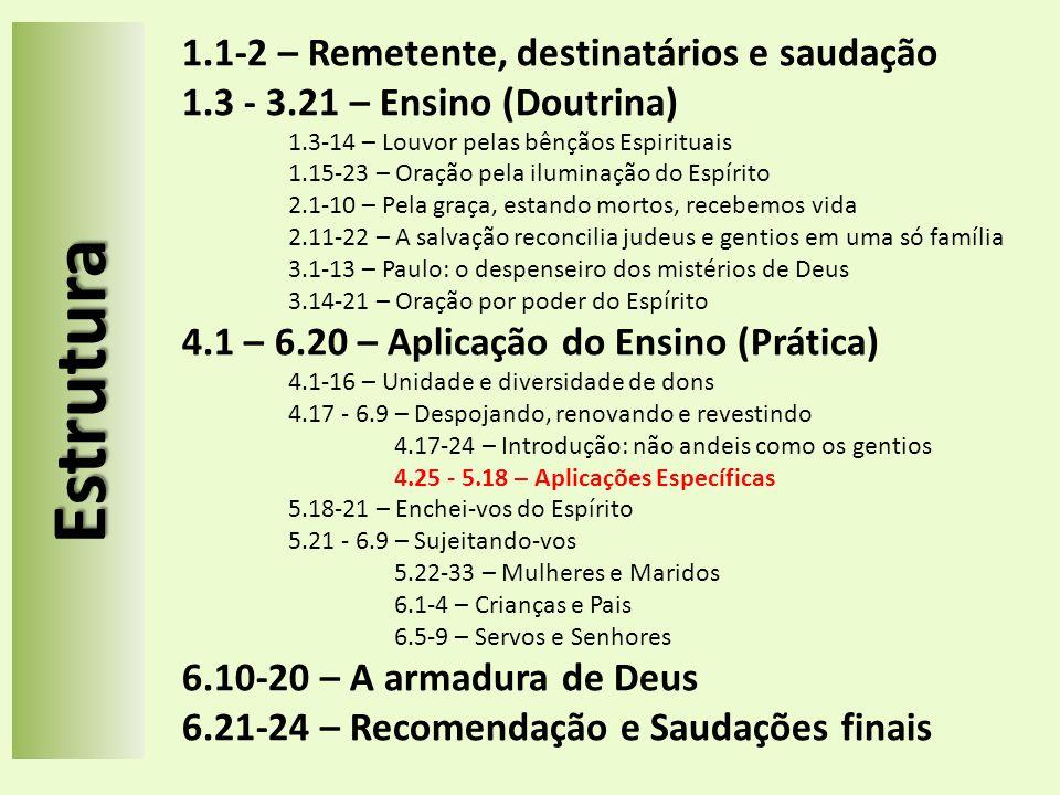 Estrutura 1.1-2 – Remetente, destinatários e saudação 1.3 - 3.21 – Ensino (Doutrina) 1.3-14 – Louvor pelas bênçãos Espirituais 1.15-23 – Oração pela i