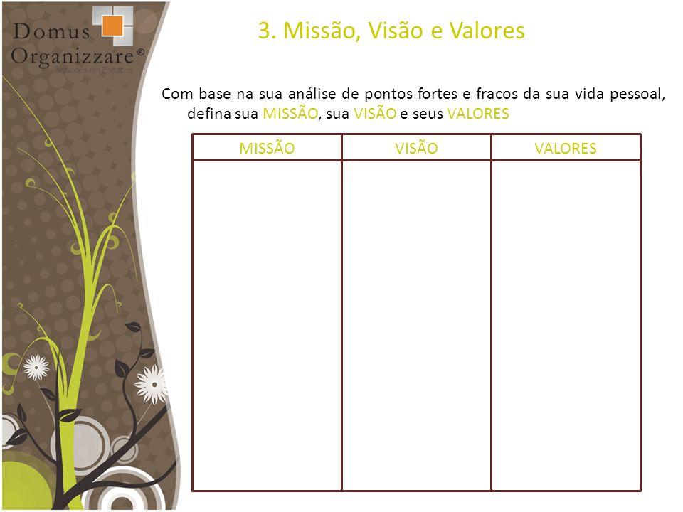 3. Missão, Visão e Valores Com base na sua análise de pontos fortes e fracos da sua vida pessoal, defina sua MISSÃO, sua VISÃO e seus VALORES MISSÃOVI