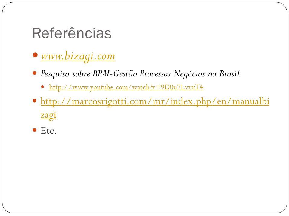 Referências www.bizagi.com Pesquisa sobre BPM-Gestão Processos Negócios no Brasil http://www.youtube.com/watch?v=9D0u7LvvxT4 http://marcosrigotti.com/
