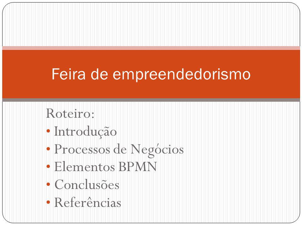 Roteiro: Introdução Processos de Negócios Elementos BPMN Conclusões Referências Feira de empreendedorismo