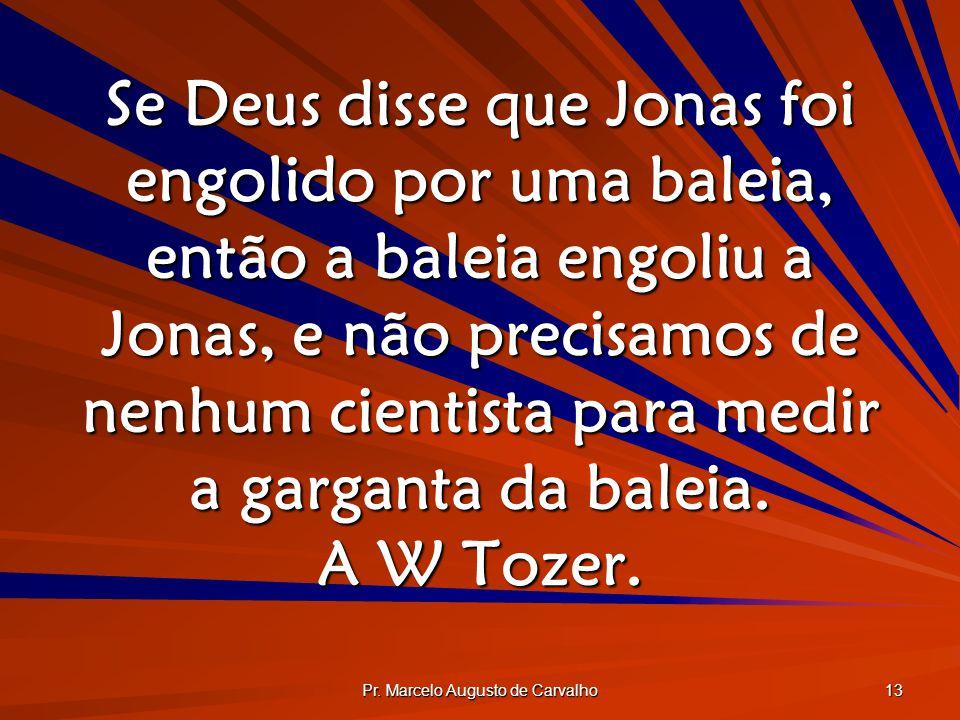 Pr. Marcelo Augusto de Carvalho 13 Se Deus disse que Jonas foi engolido por uma baleia, então a baleia engoliu a Jonas, e não precisamos de nenhum cie