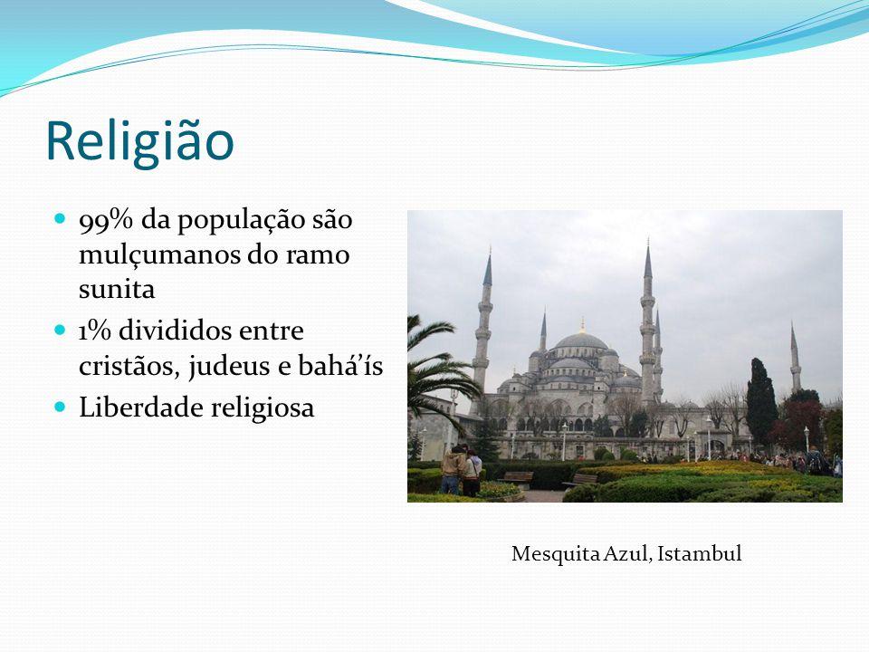 Religião 99% da população são mulçumanos do ramo sunita 1% divididos entre cristãos, judeus e bahá'ís Liberdade religiosa Mesquita Azul, Istambul