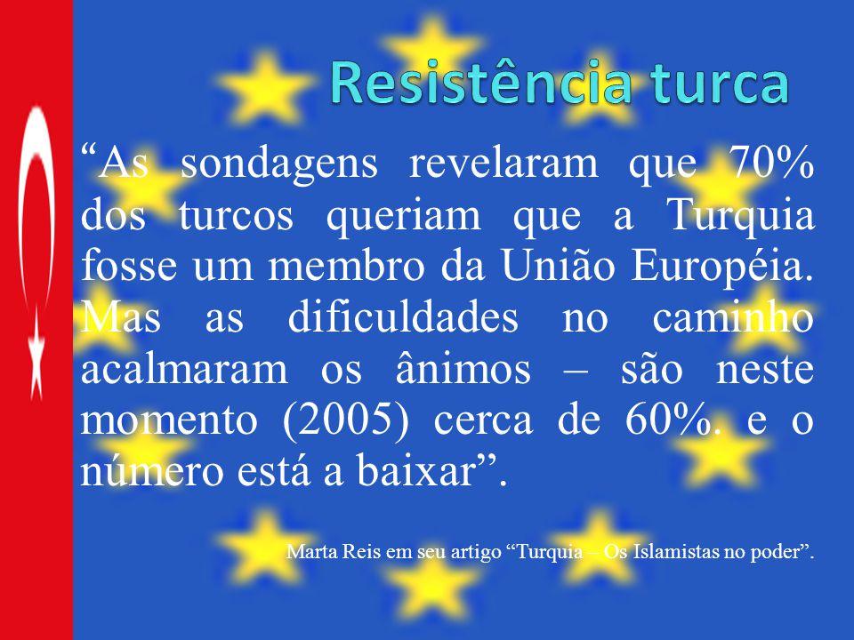 """"""" As sondagens revelaram que 70% dos turcos queriam que a Turquia fosse um membro da União Européia. Mas as dificuldades no caminho acalmaram os ânimo"""