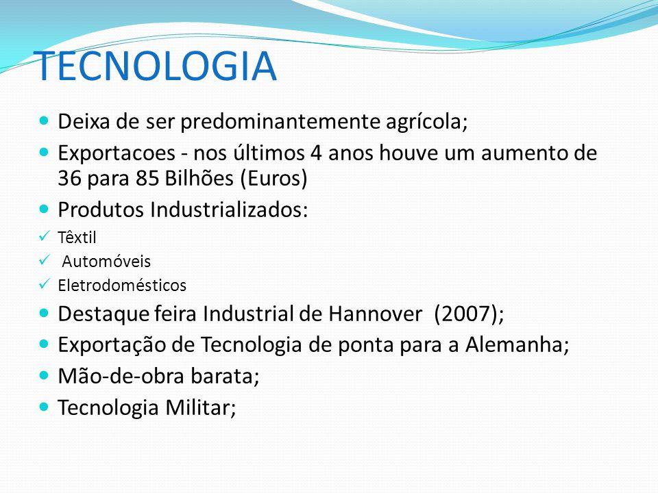 TECNOLOGIA Deixa de ser predominantemente agrícola; Exportacoes - nos últimos 4 anos houve um aumento de 36 para 85 Bilhões (Euros) Produtos Industria