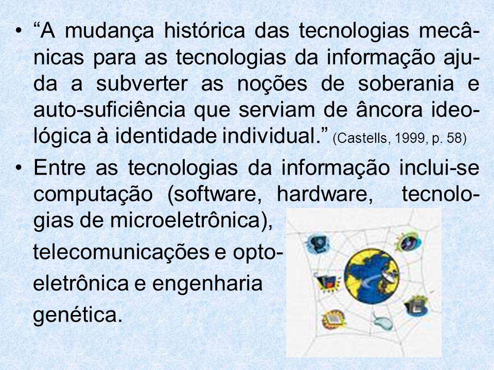 Características da Sociedade da Informação 1.A informação é a matéria-prima, pois são tecnologias que agem sobre a informação; 2.Como a informação é parte integral de toda atividade humana todos os processos de nossa existência individual e coletiva são diretamente moldados pelo novo meio tecnológico; 3.A morfologia das redes está adaptada à crescente complexidade das interações e aos modelos imprevisíveis do desenvolvimento; 4.Flexibilidade, capacidade de reconfiguração; 5.Convergência e integração (hardware e software estão integrados no sistema de informação)