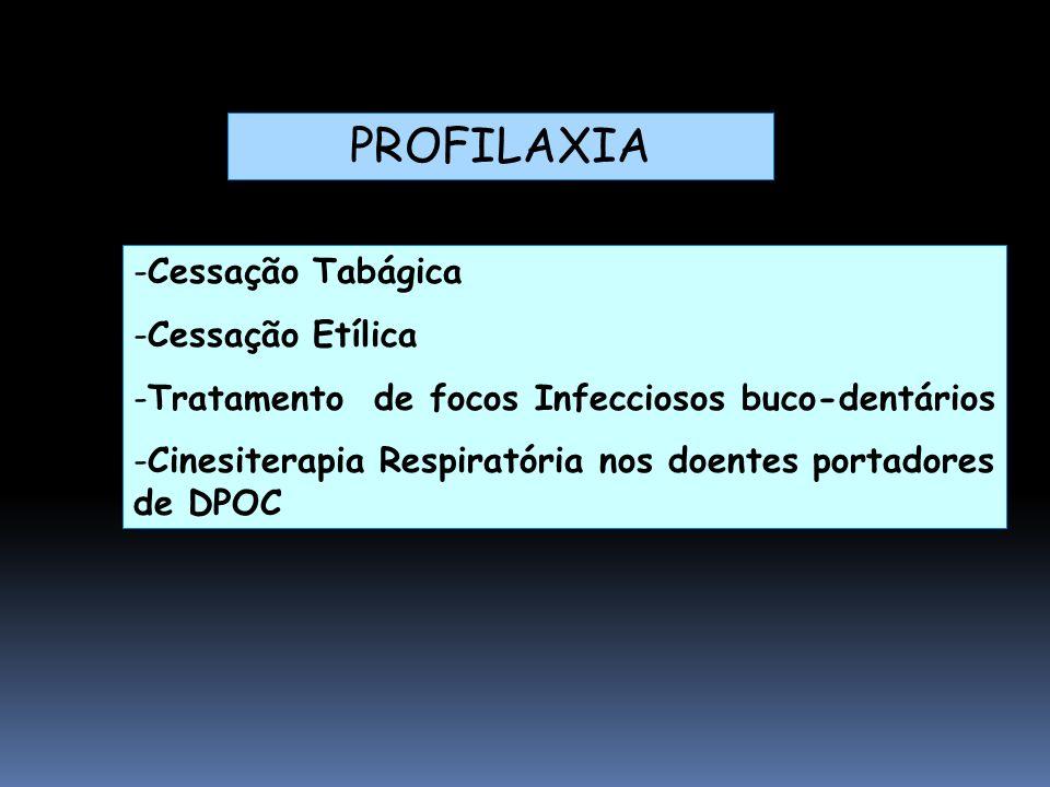 -Cessação Tabágica -Cessação Etílica -Tratamento de focos Infecciosos buco-dentários -Cinesiterapia Respiratória nos doentes portadores de DPOC PROFILAXIA
