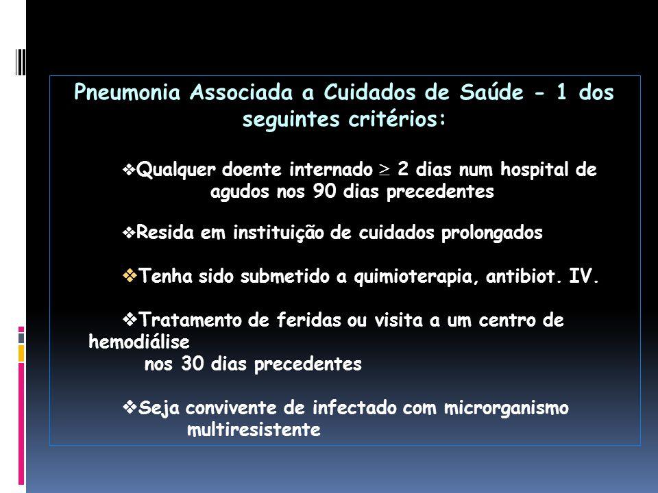 Pneumonia Associada a Cuidados de Saúde - 1 dos seguintes critérios:  Qualquer doente internado  2 dias num hospital de agudos nos 90 dias precedent