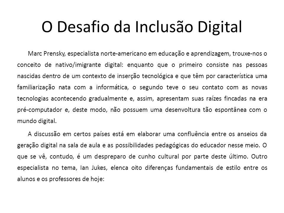 O Desafio da Inclusão Digital Marc Prensky, especialista norte-americano em educação e aprendizagem, trouxe-nos o conceito de nativo/imigrante digital