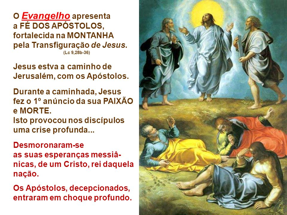 O Evangelho apresenta a FÉ DOS APÓSTOLOS, fortalecida na MONTANHA pela Transfiguração de Jesus.
