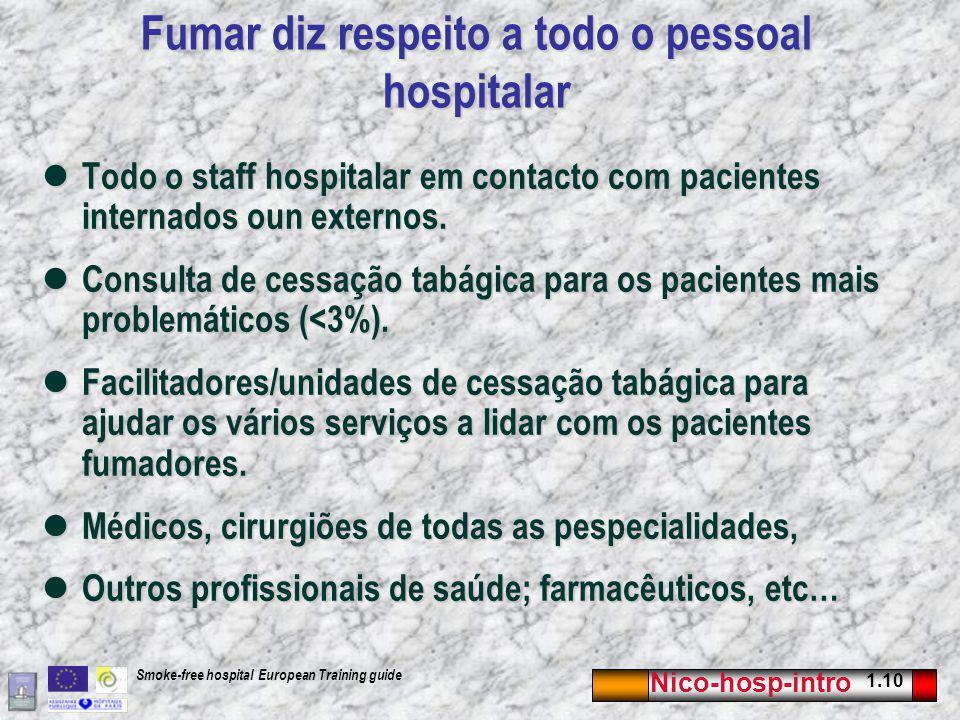 Nico-hosp-intro 1.10 Smoke-free hospital European Training guide Fumar diz respeito a todo o pessoal hospitalar Todo o staff hospitalar em contacto com pacientes internados oun externos.