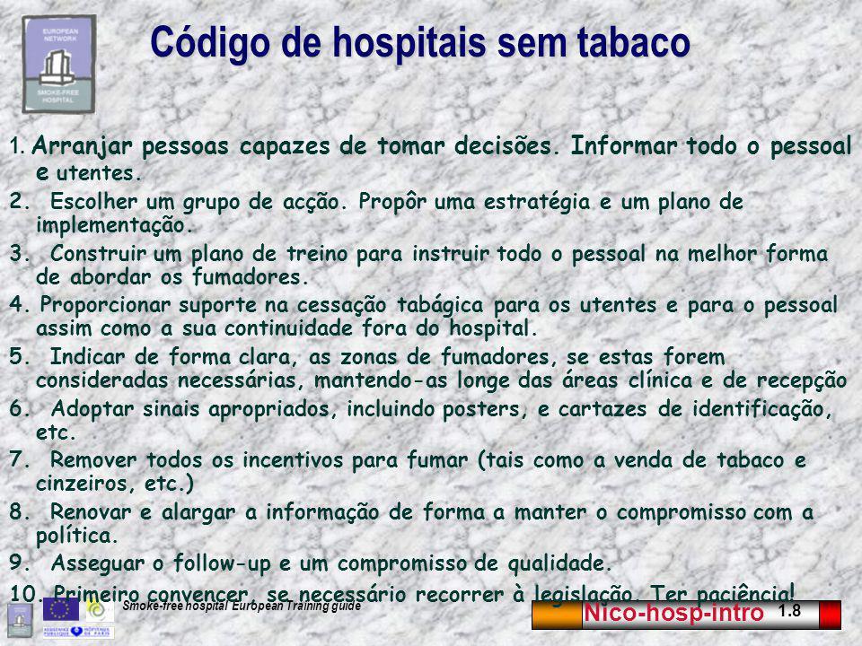 Nico-hosp-intro 1.8 Smoke-free hospital European Training guide Código de hospitais sem tabaco 1.
