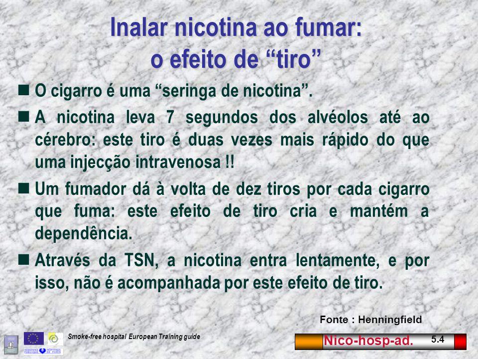 """Nico-hosp-ad. 5.4 Smoke-free hospital European Training guide Inalar nicotina ao fumar: o efeito de """"tiro"""" O cigarro é uma """"seringa de nicotina"""". A ni"""