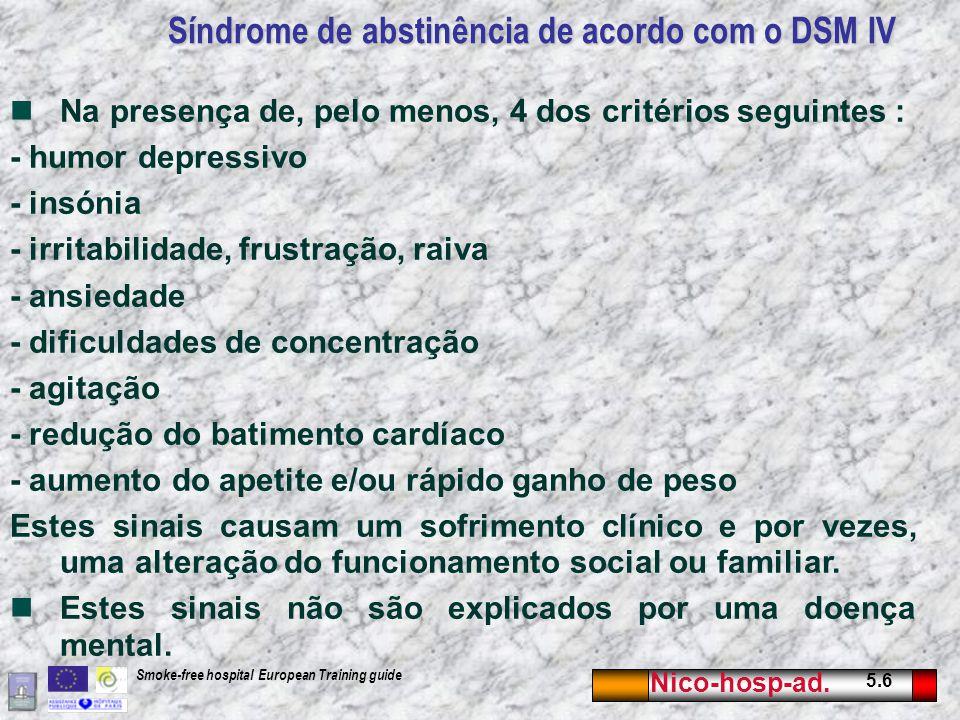 Nico-hosp-ad. 5.6 Smoke-free hospital European Training guide Síndrome de abstinência de acordo com o DSM IV Na presença de, pelo menos, 4 dos critéri