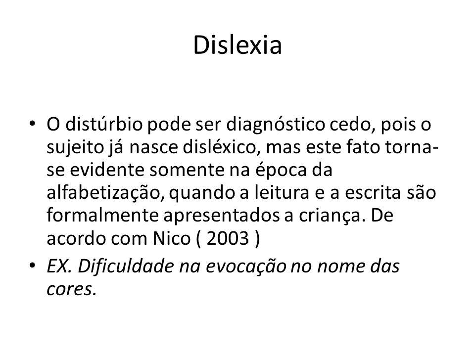 Dislexia O distúrbio pode ser diagnóstico cedo, pois o sujeito já nasce disléxico, mas este fato torna- se evidente somente na época da alfabetização,